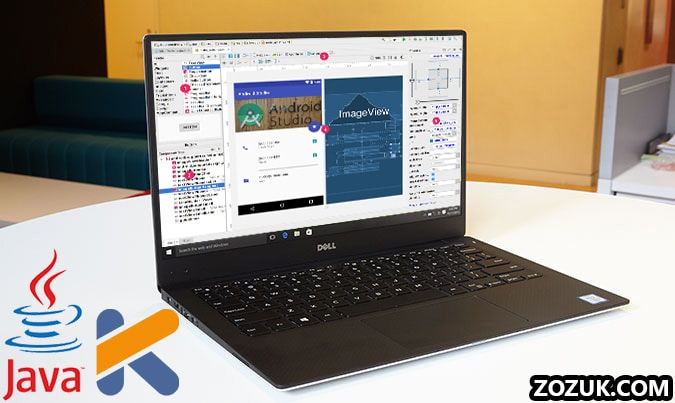 android studio running on laptop with Java and Kotlin language