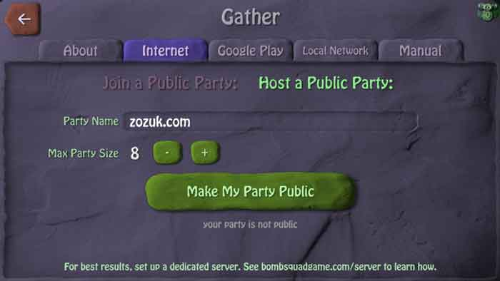Online public party creation for multiplayer gaming