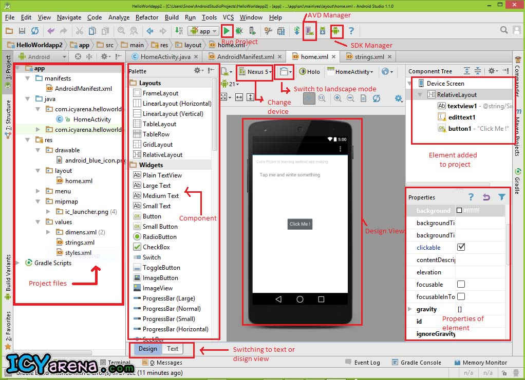 different components of android studio main screen