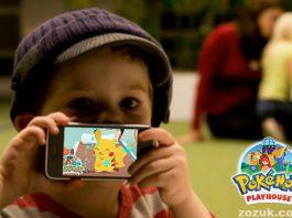 Kid playing Pokemon Playhouse game